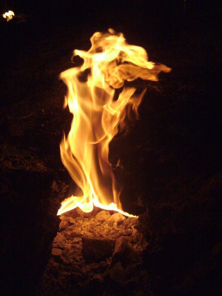 Natural Fire Coming Out Of The Ground